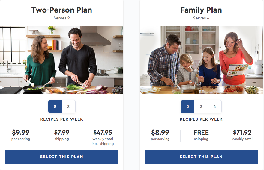 Blue Apron pricing options