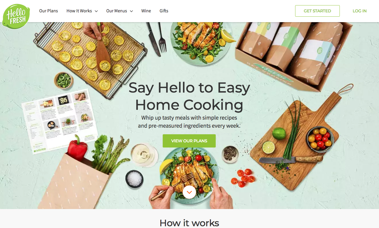 Hello Fresh homepage