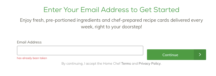 home chef signup process