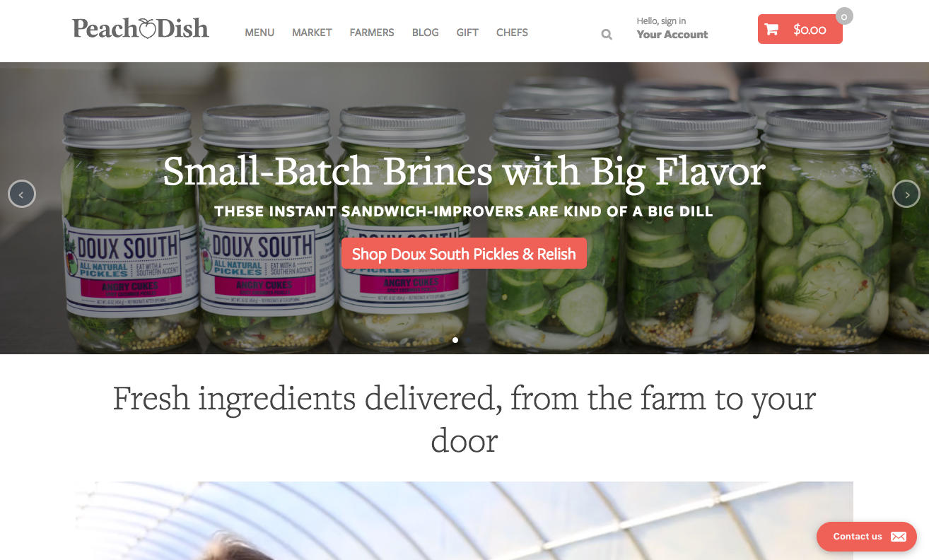 Peach and Dish homepage