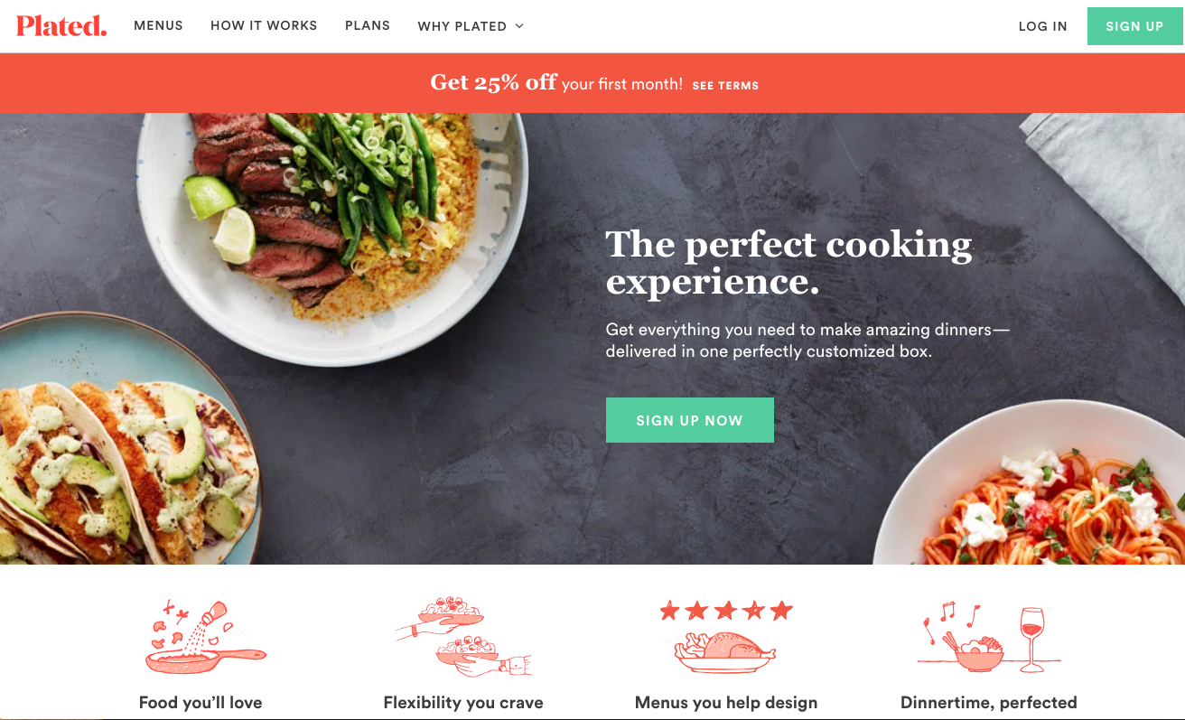 Plated homepage