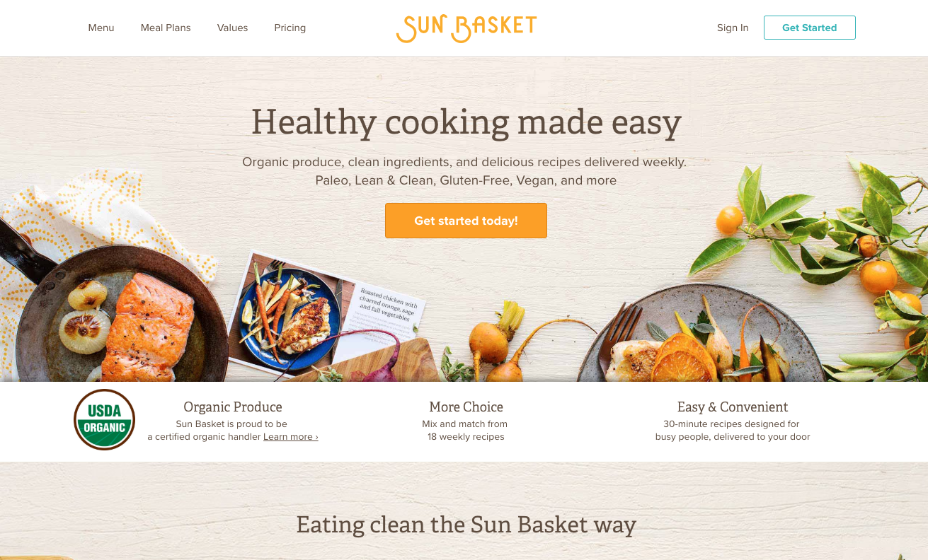 Sun Basket homepage