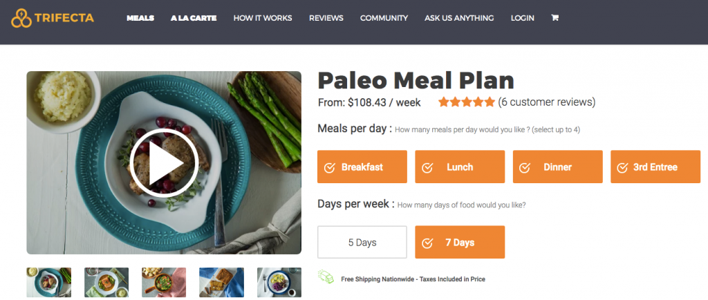 trifecta nutrition paleo meal plan
